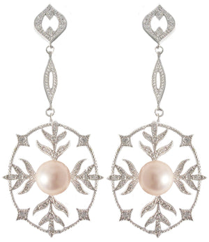 Earring Ov Flwr Pave Ctr Pearl in S/S