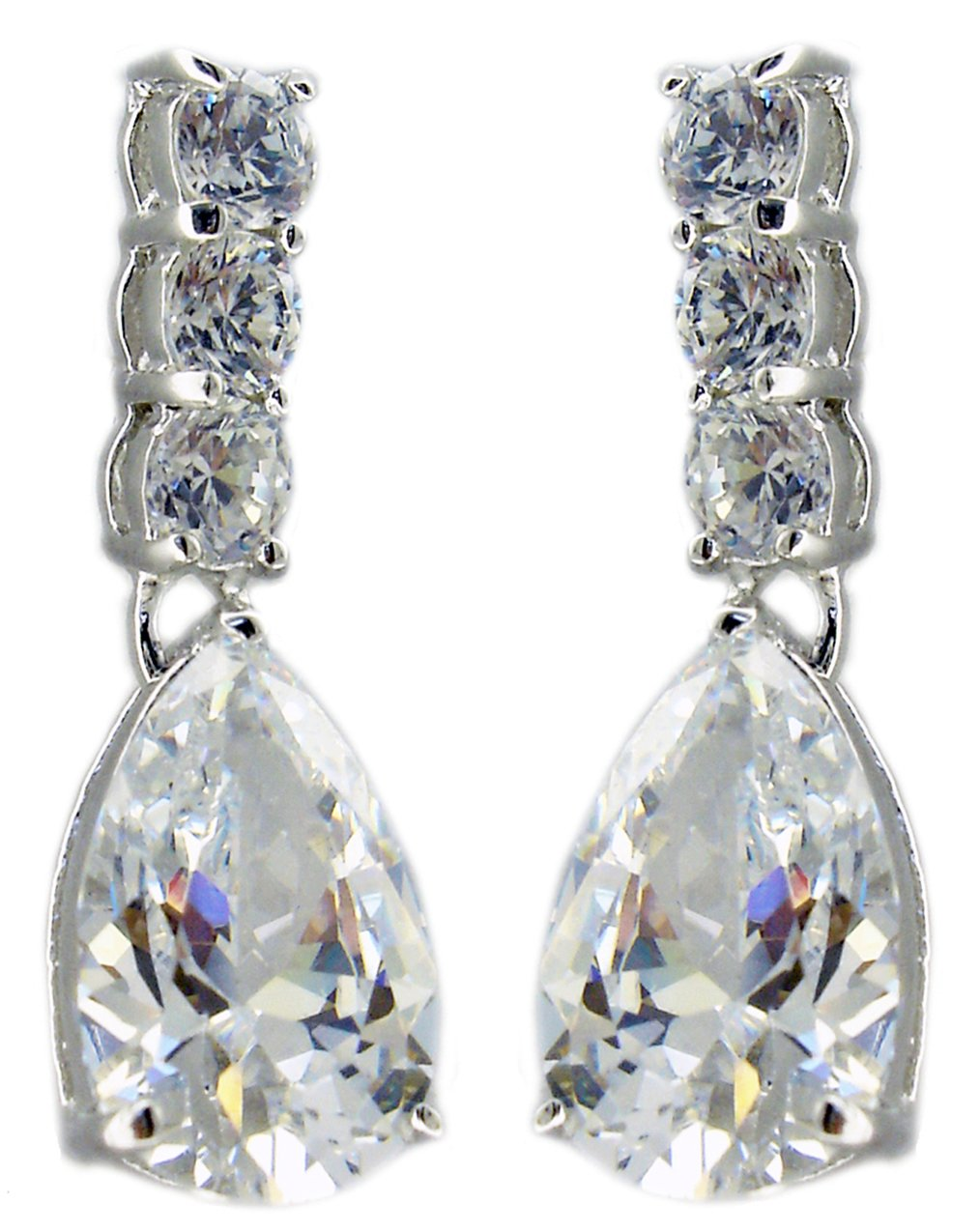 Earring with 3 Round Basket Drop Pear Shape