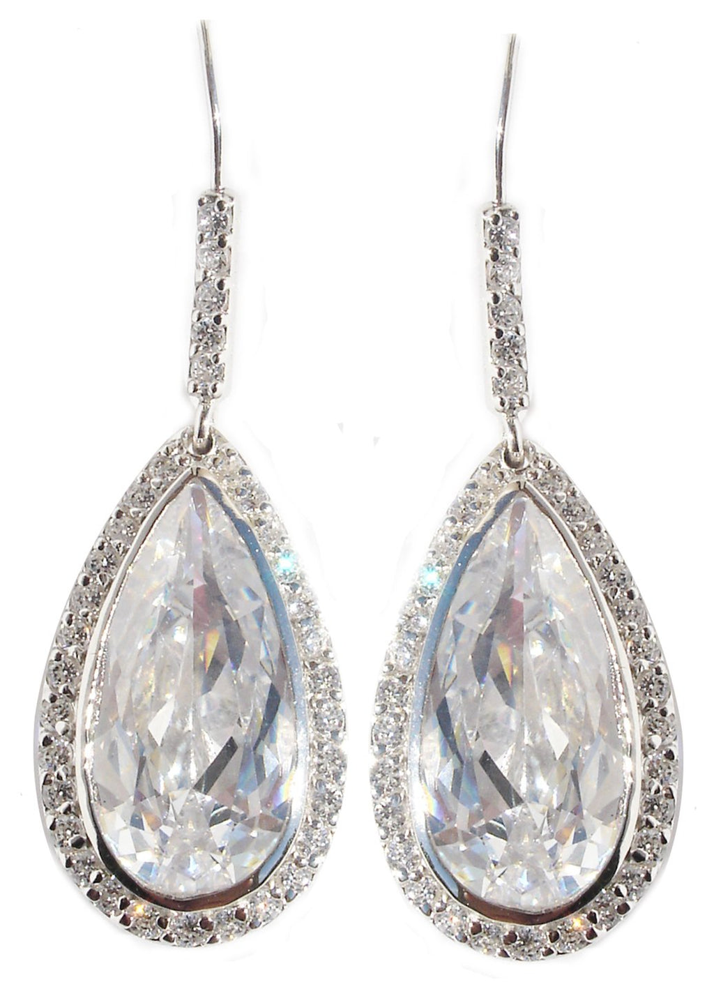 Earring Tear Drop Cz Pave Around Pave Ba