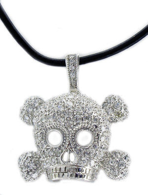 Sterling Silver Zirconite Cubic Zirconia pave skull head pendant with leather cord necklace