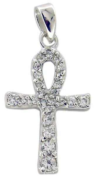 Link Ankh Pave Cross Pendant in S/S Rhodium