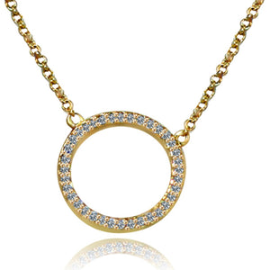 Golden Circle Pendant Paved with Cubic Zirconia on a Link Chain in 925 Sterling Silver