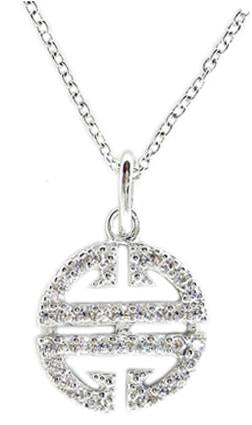 Link Pave Circle Pendant in S/S Rhodium