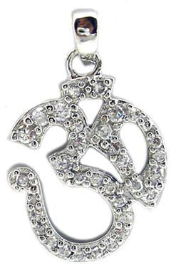 Small Om Pave Pendant in S/S Rhodium