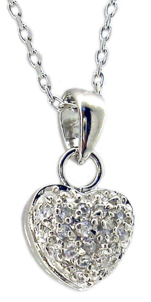 SMALL STERLING SILVER HEART SHAPE PENDANT PAVE WITH CUBIC ZIRCONIA STONES