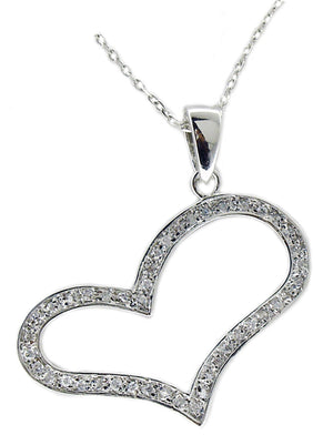 ''TILTED HEART'' STERLING SILVER OPEN HEART PENDANT WITH CUBIC ZIRCONIA STONES ALL AROUND