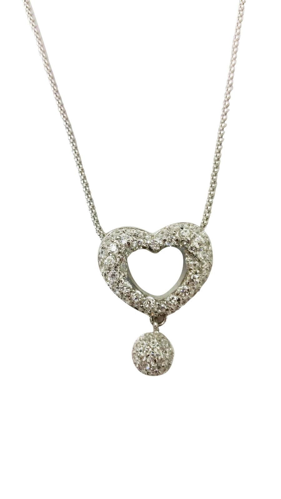 Sterling Silver Open Heart Micro-pave Pendant featuring a dangling pave fireball