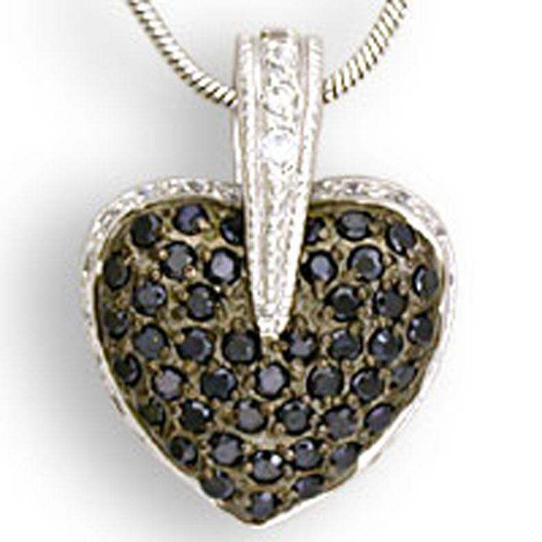 Sterling silver heart shape pendant pave with cubic zirconia zirconita stones
