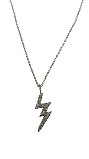 Sterling silver zirconite cubic zirconia pave lightning bolt pendant