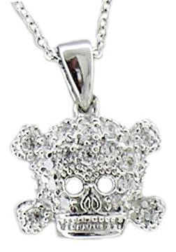 Fully Pave Zirconite cubic zirconia Skull Pendant on Link chain Rhodium Electroplate