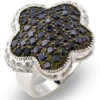 Ring Flower Blk Clr Cz's