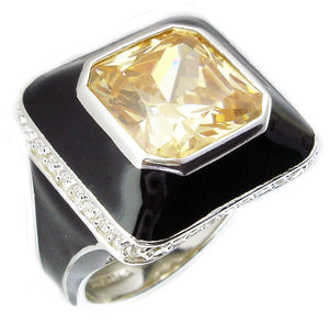 Sterling Silver Enamel square ring with centered colored CZ