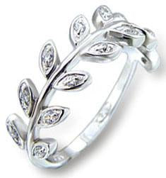 Zirconite Cubic Zirconia Leafs Sterling Sterling Silver Ring