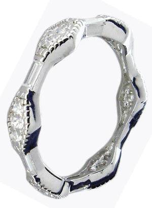 Zirconite Cubic Zirconia Sterling Silver Stackable Eternity Band Ring