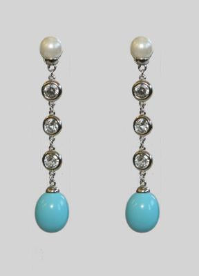 Oval Turquise Shell Mop Pearls Earrings