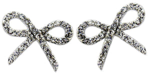 Post Pave Bow Cz in S/S Rhodium
