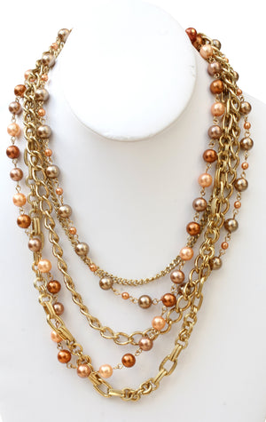 Multi strand chain link necklace with round shape