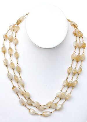 Genuine Citrine Triple Necklace