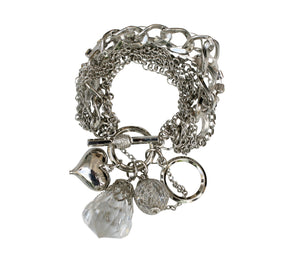 Multi strand chain link charm bracelet with a strand of round clear stones 610B09