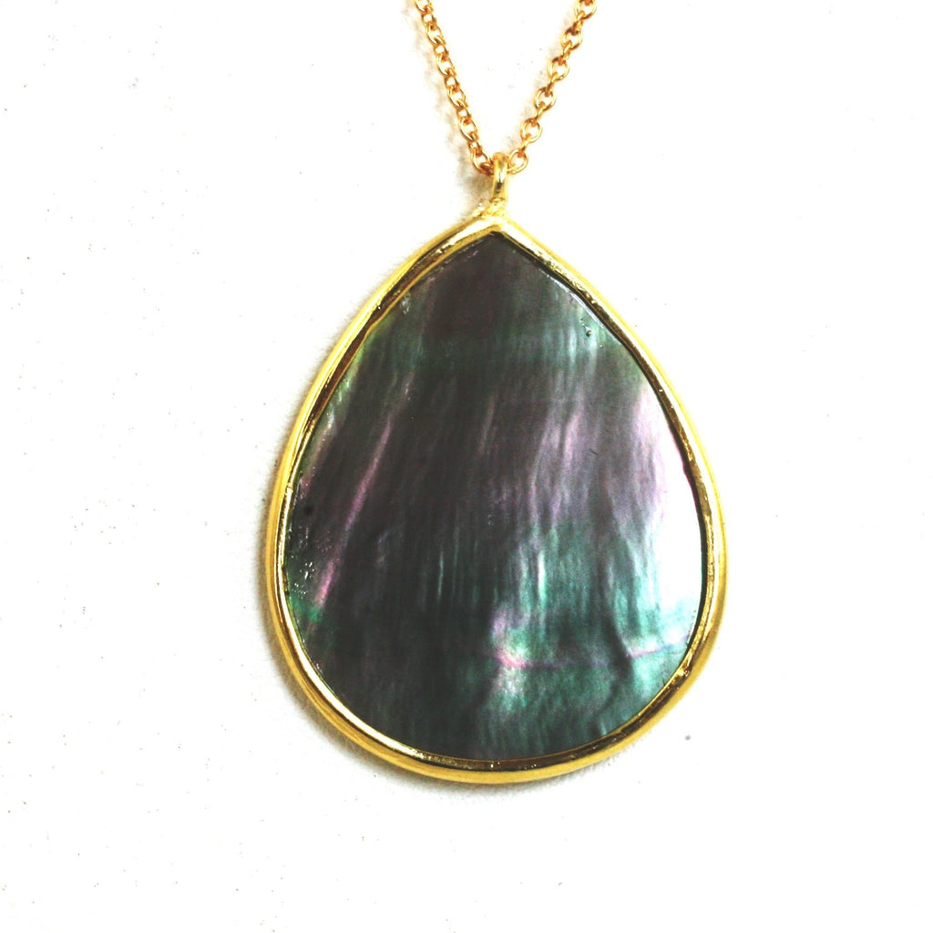 "Elegent large Pear 2-tone sheamering Abalone Pendant on 30"" Sterling silver Vermeil fine Chain 543P56V"