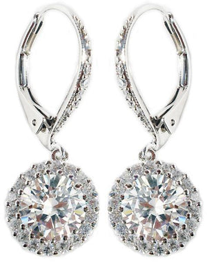 Earring Lever Back Round Cz Drop Pave Around