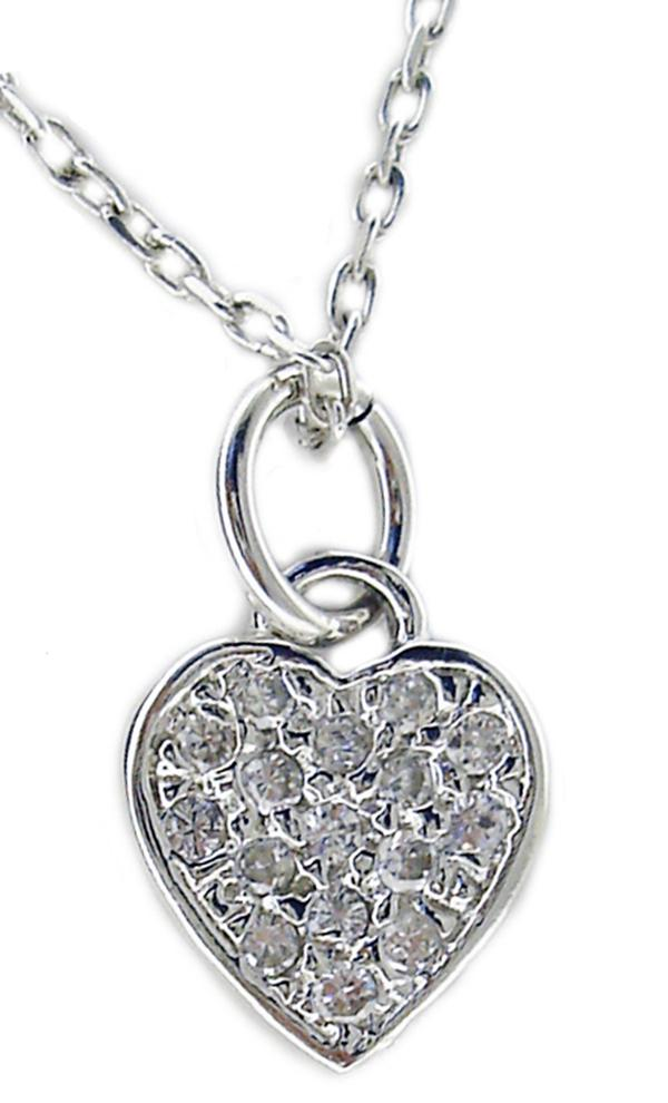 SMALL DANGLING CZ PAVE HEART PENDANT SET IN STERLING SILVER
