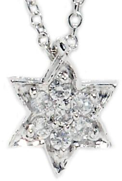 Link Pave David Star Pendant in S/S Rhodium