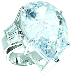 Ring 50Ct Pear Shape Center Cz with Baguettes Side Stones