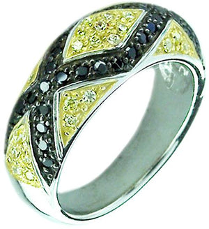 Half Pave Zirconite Canary/Blk Cz Band In Sterling Silver