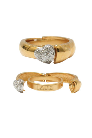 Gold and Silver Pave hearts on hinged gold ring
