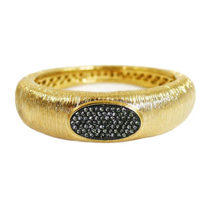 Cuff Bracelet With Oval Center W/Crystals