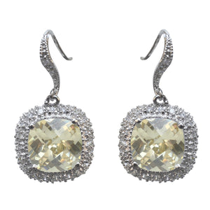 Earring Pave Cz Cushion Cut Color Cz