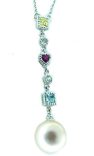 N/L Link Mlt Color/Shape Cz Pendant+Pearl Drop in S/S
