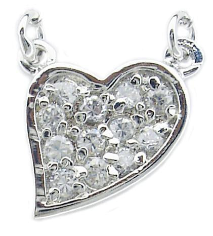 STERLING SILVER CZ PAVE HEART PENDANT