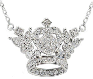 Necklace Lnk Pave Crown Pendant S/S Rhodium