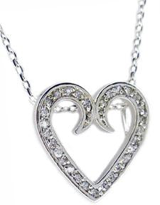 STERLING SILVER OPEN HEART PENDANT EMBELLISHED WITH BRILLIANT CUBIC ZIRCONIA STONES
