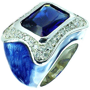 Ring Pave Enamel Color Em Stone in S/S Rhodium