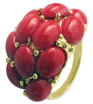 Oval Stones Fashion Ring - Red
