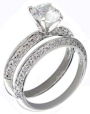 Ring Pave Cz Wedding Set with 6mm Rd Cz's