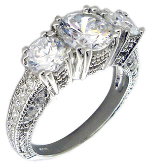Ring 3 Stone Cz Solitaire Wedding