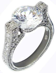Ring 10mm Cz Prong Set 3mm Side Cz's