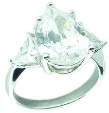 4Ct Pear Shape Cz Ring in S/S with 2 Triangle Shape on The Sides