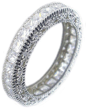 Zirconite Cubic Zirconia Eternity Sterling Silver Band Ring