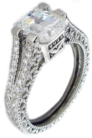 Milegree Em Ctr Cz Pave on Sides Sterling silver Ring