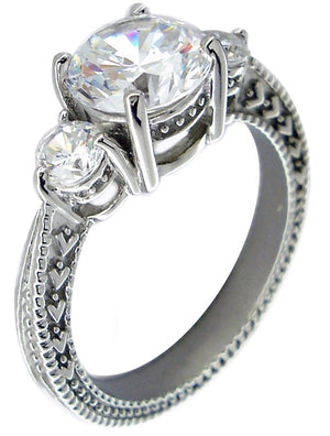 Ring Filegree 3Ct Ctr Rd Cz Rd Side