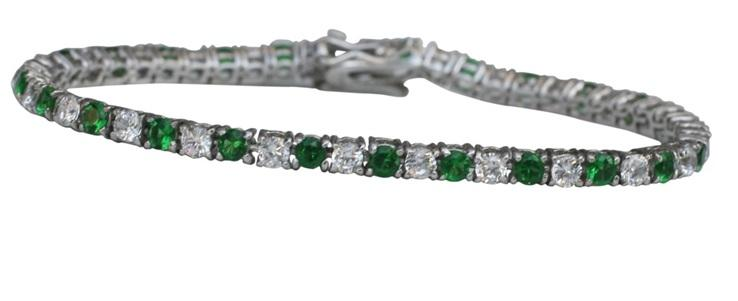 3MM alternate color Zirconite prong set in sterling silver Rhodium Electro-plate Tennis Bracelet