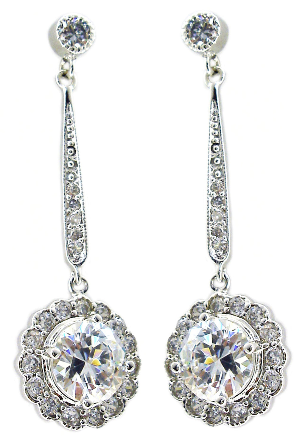 Earring Rd Bezel Cz Ov Bar with Flower Drop