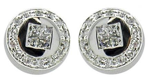 Earring Post in Sq Rd Pave Cz