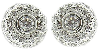 Earring Post Round Pave Bz Ctr Cz