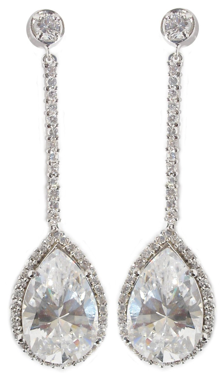Earring Top Rd Bz Cz Pave Bar Pear Cz Drop